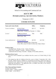 Course outline for ACCY309 Trimester 2 2013 - Victoria University of ...