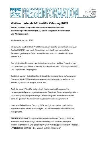 Pressemitteilung Weitere Hartmetall-Frässtifte Zahnung INOX - PFERD