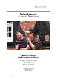 Freizeitprogramm - Lebenshilfe Berlin