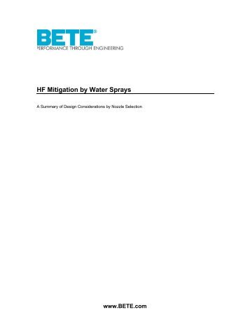 BETE HF Mitigation by Water Sprays - BETE Fog Nozzle, Inc.