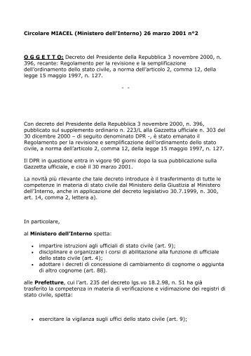 Circolare MIACEL \(Ministero dell'Interno\) 26 marzo 2001 n°2