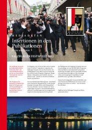 Insertionen in den Publikationen - Salzburger Festspiele