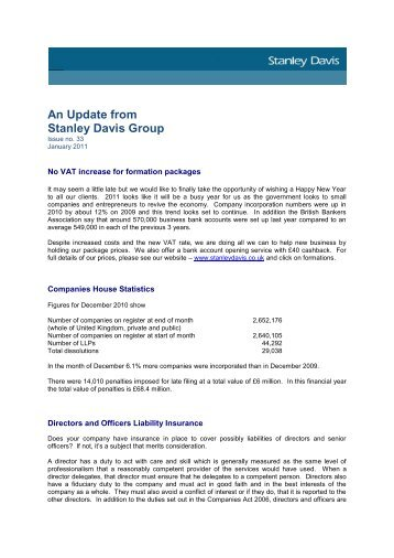 January 2011 - Company law update - Stanley Davis Group Ltd