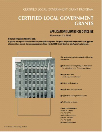 Certified Local Government Grant Application - Pennsylvania ...