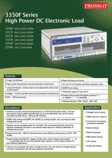 3350F Series High Power DC Electronic Load - Measuretronix Ltd.