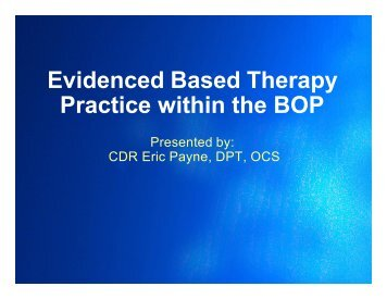 Evidence Based Therapy Practice