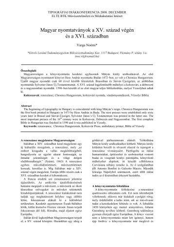 Magyar nyomtatványok a XV. század végén és a XVI ... - mgonline