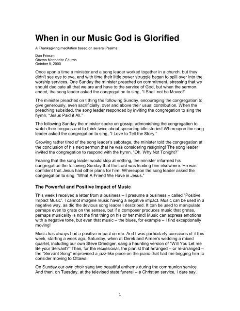 When in our music God is glorified - Ottawa Mennonite Church