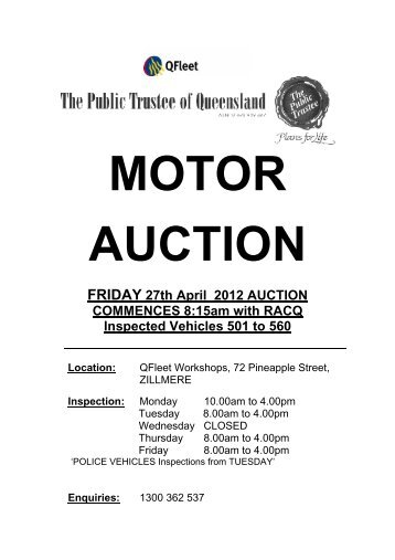 MOTOR AUCTION FRIDAY 27th April 2012 AUCTION ...