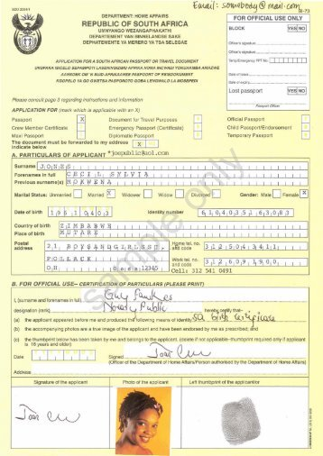 Sample Bi 73 Passport Application Form For Minors South Africa