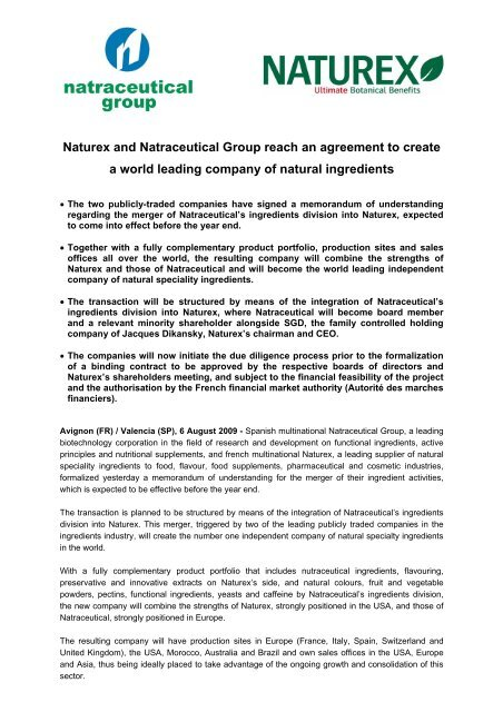 Naturex and Natraceutical Group reach an agreement to create