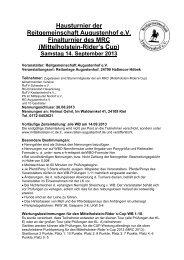 Hausturnier der Reitgemeinschaft Augustenhof e.V. Finalturnier des ...