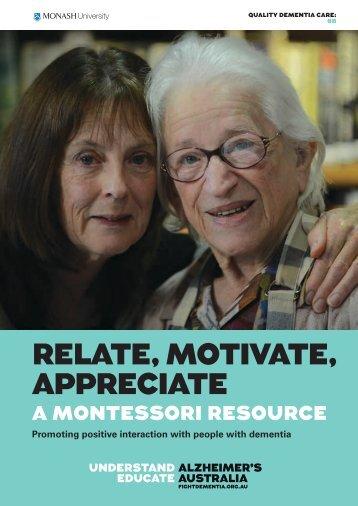 RELATE, MOTIVATE, APPRECIATE - Alzheimer's Australia