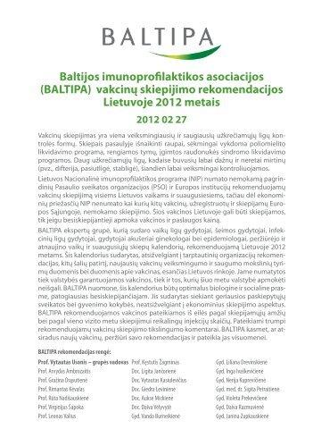 Baltijos imunoprofilaktikos asociacijos (BALTIPA) vakcinų skiepijimo ...