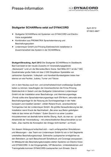 Stuttgarter SCHARRena setzt auf DYNACORD