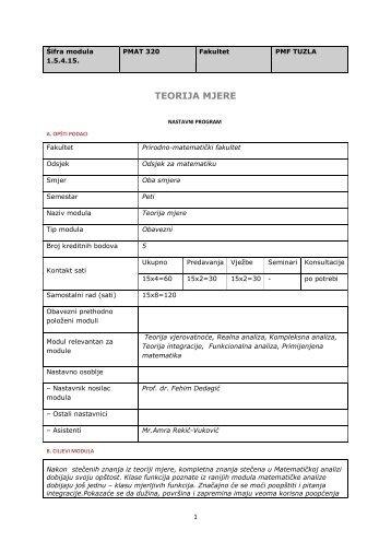 TEORIJA MJERE - PMF - Univerzitet u Tuzli