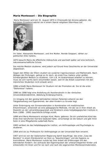 maria montessori die biographie clara grunwald grundschule - Maria Montessori Lebenslauf