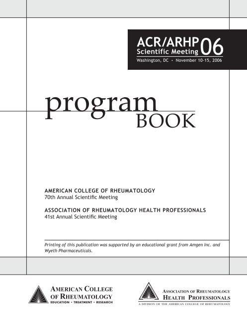 2006 ACR/ARHP Program Book - American College of Rheumatology