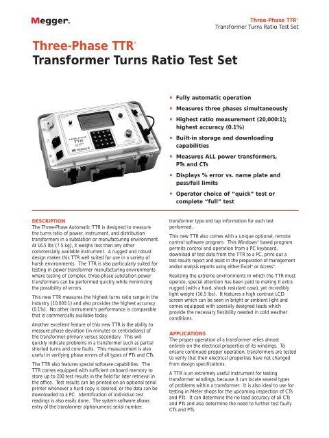 Three-Phase TTR® Transformer Turns Ratio Test Set