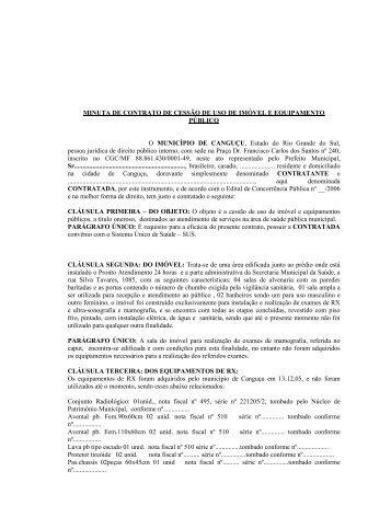 MINUTA DE CONTRATO DE CESSÃO DE USO DE ... - Portal Público