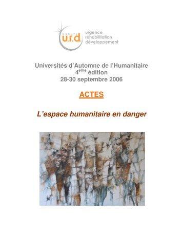 ACTES L'espace humanitaire en danger - Groupe URD