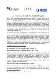 Les nouveaux résultats des modèles français - CNRS