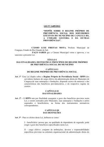 Lei N° 3689/2012 - Portal Público