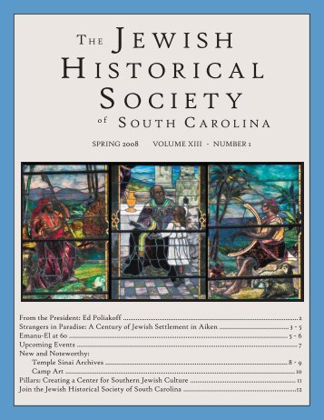 2008 Spring Newsletter - Jewish Historical Society of South Carolina