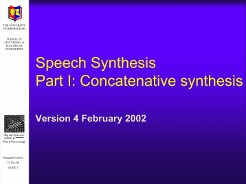 Concatenative synthesis - University of Birmingham