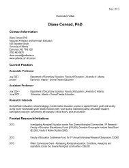 Diane's CV - University of Alberta
