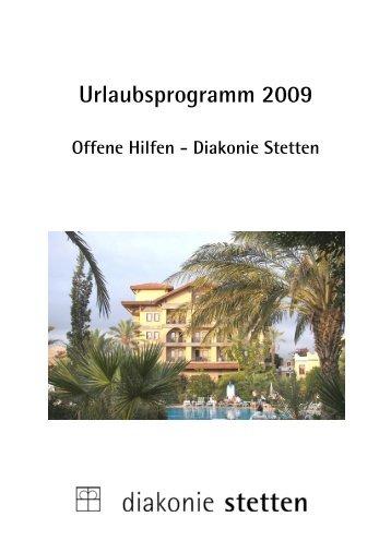 Urlaubsprogramm 2009 - Wohnen und Offene Hilfen in der Diakonie ...