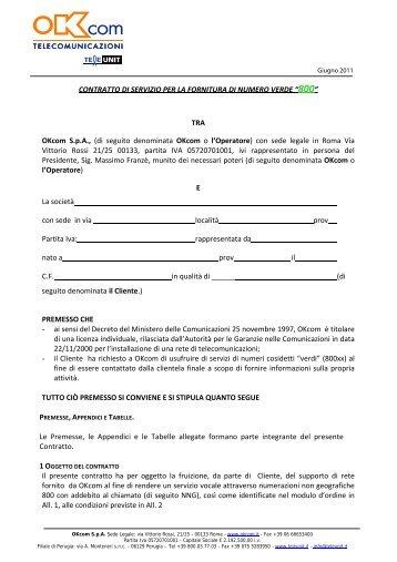 CONTRATTO DI SERVIZIO PER LA FORNITURA DI ... - OKcom S.p.A.