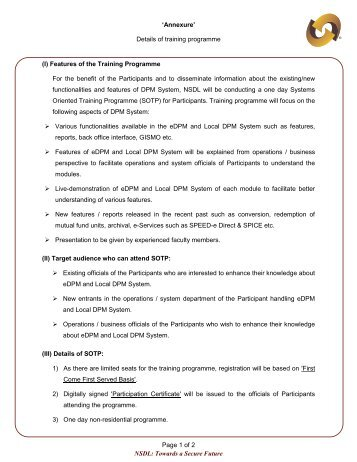 'Annexure' Details of training programme Page 1 of 2 NSDL ...