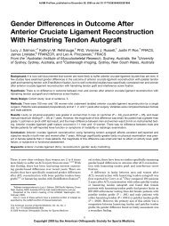 Gender Differences in Outcome After Anterior Cruciate Ligament ...