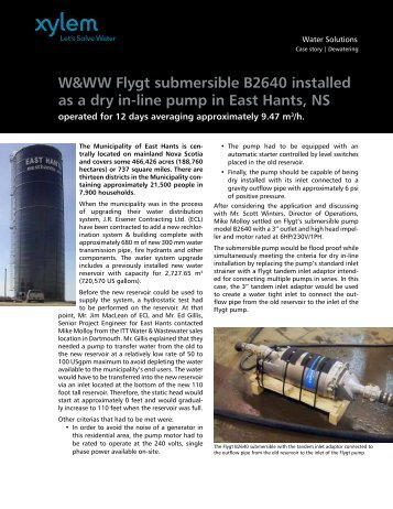 Flygt submersible B2640 installed as a dry in-line ... - Water Solutions