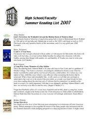 High School/Faculty Summer Reading List 2007 - Saint Ann's School