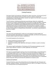 Training Prospectus Throughout history the therapeutic relationship ...