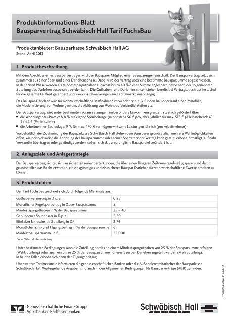 Produktinformationsblatt Tarif Fuchsbau Bausparkasse