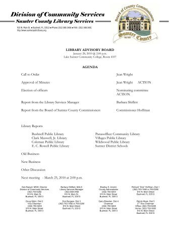 Division of Community Services - Sumter County, FL