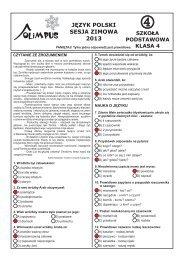 OLIMPUS Sesja zimowa 2013 - Język polski, kl. 4 Szkoła podstawowa