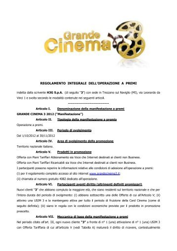 Grande Cinema 3 - Sos Tariffe
