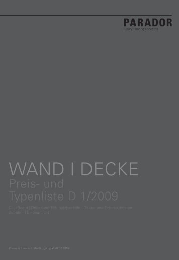 PARADOR Wand/Decke 2009/2010 - Nutzholz May