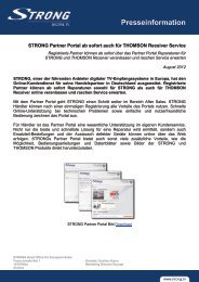 STRONG Partner Portal ab sofort auch mit THOMSON Receiver ...
