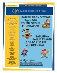 PARISH BABY SITTING Ages 2-10 YOUTH GROUP FUNDRAISER ...