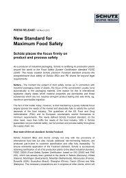 New Standard for Maximum Food Safety - Schutz GmbH & Co. KGaA