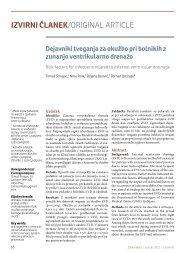 Dejavniki tveganja za okužbo pri bolnikih z zunanjo ventrikularno ...