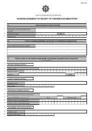 acknowledgement of receipt of firearm documentation - Saps