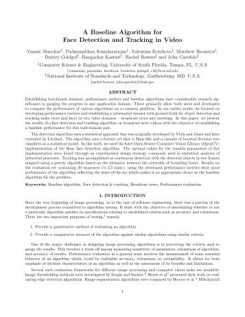 A Baseline Algorithm for Face Detection and Tracking in ... - CiteSeerX