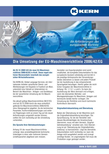 Die Umsetzung der EU-Maschinenrichtlinie 2006/42/EG - Kern