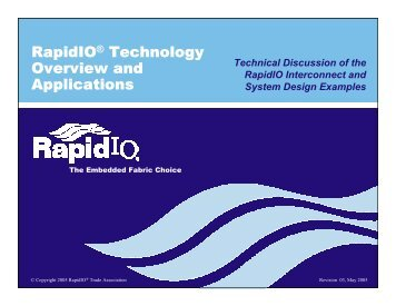 RapidIO Technology Overview and Applications Presentation